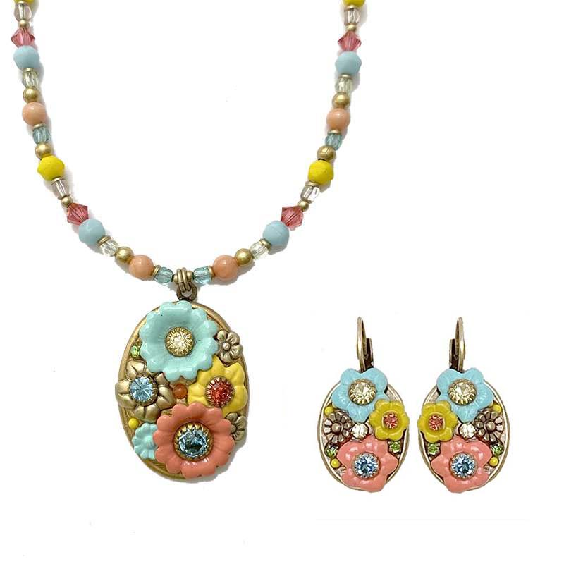Pastel Floral Oval Necklace and Earrings Set