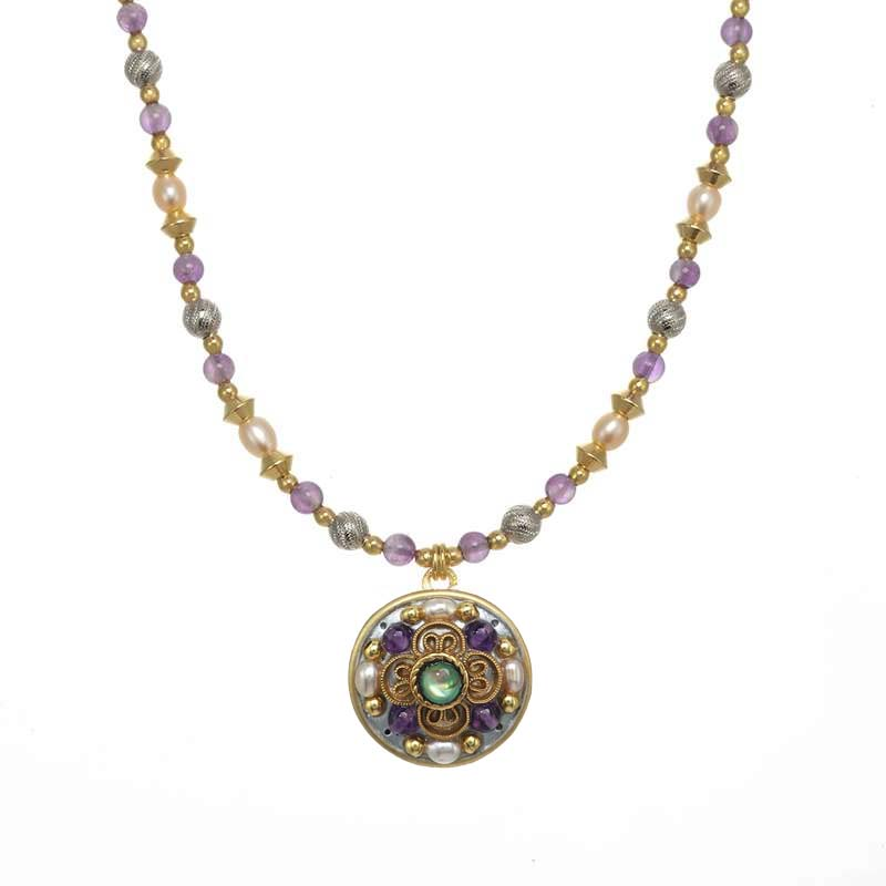 Amethyst Small Circle Necklace