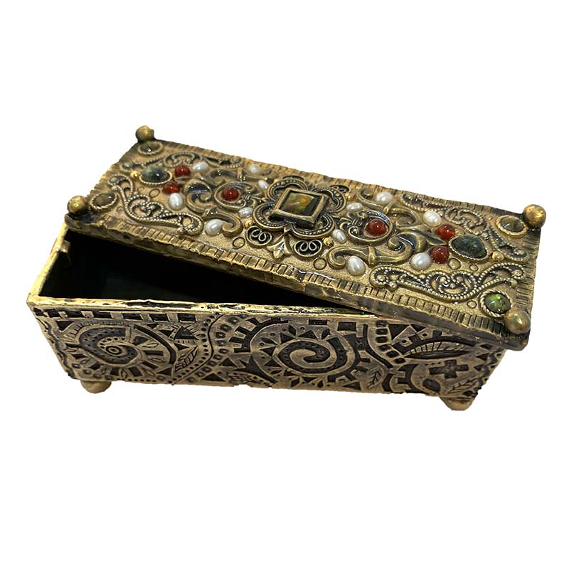 Bronze Gemstone Rectangle Jewelry Box