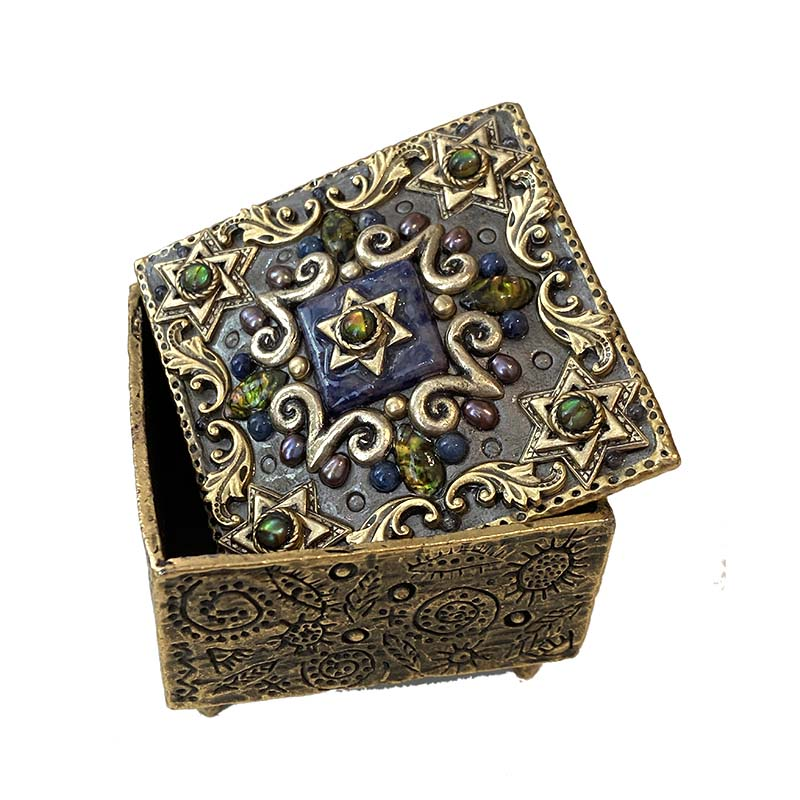 Abalone and Sodalite Star of David Jewelry Box