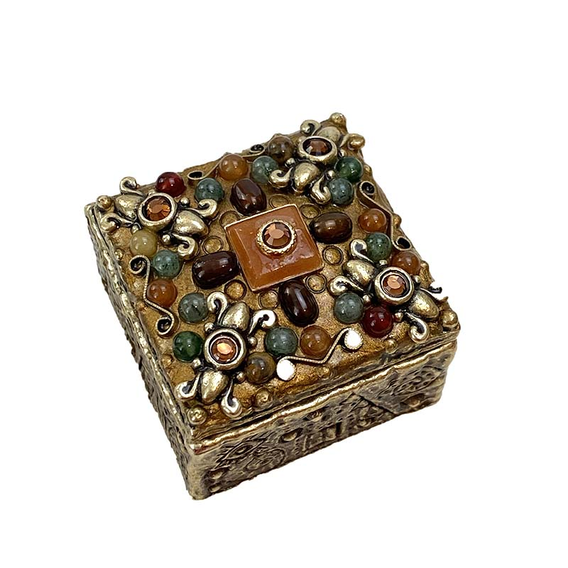 Bronze Gemstone Square Jewelry Box
