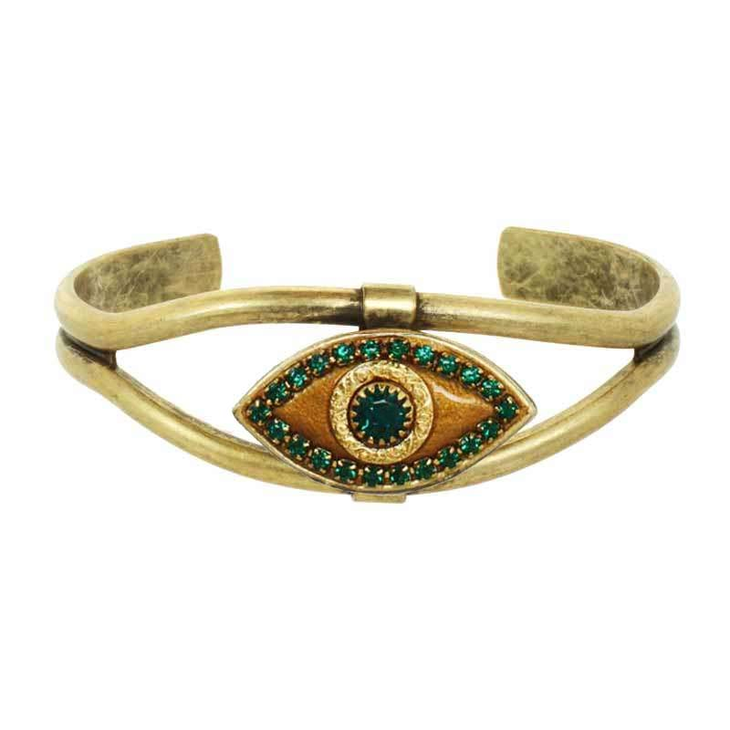 Emerald Green and Gold Evil Eye Cuff Bracelet