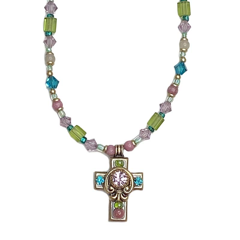 Pastel Gemstone and Crystal Cross Necklace