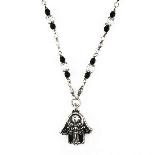 Black and Silver Small Hamsa Necklace