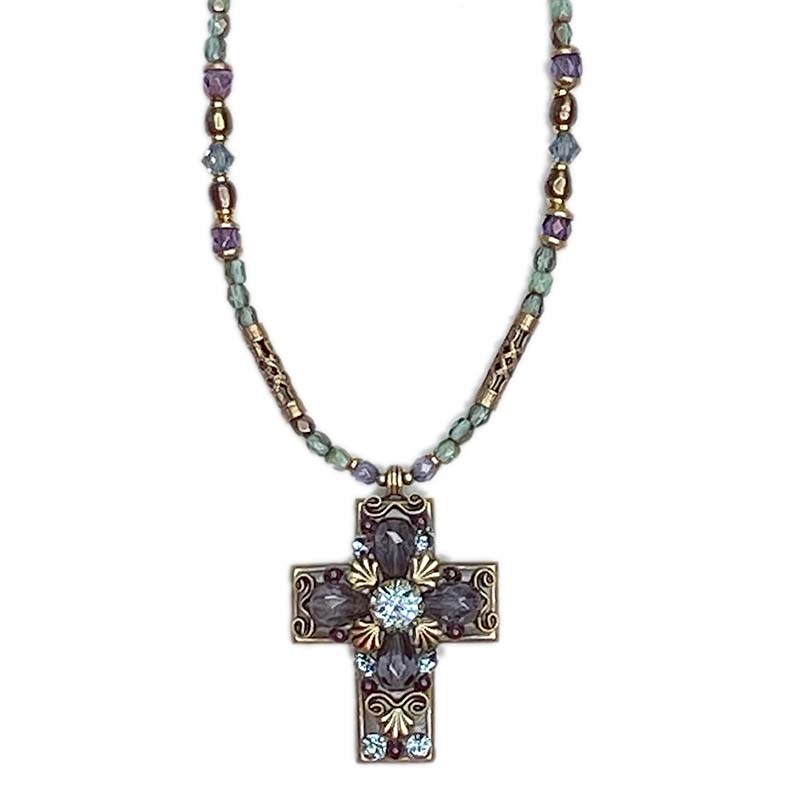 Ornate Purple Crystal Cross Necklace