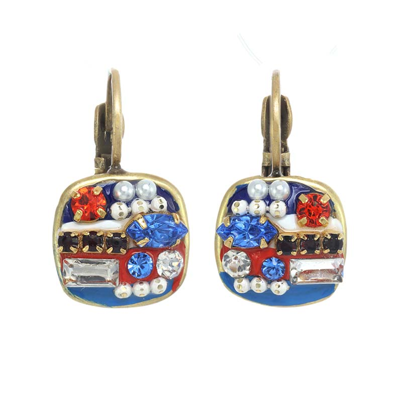 4th of July Small Square Earrings