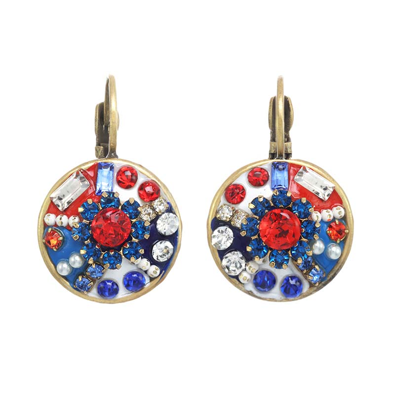 4th of July Circle Earrings