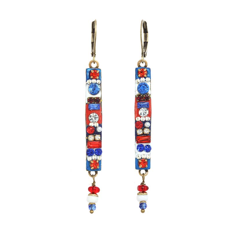 4th of July Long Bar Earrings
