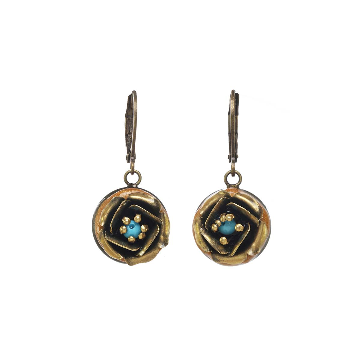 Gold and Turquoise Rose Earrings