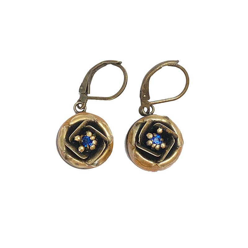 Gold and Blue Rose Earrings