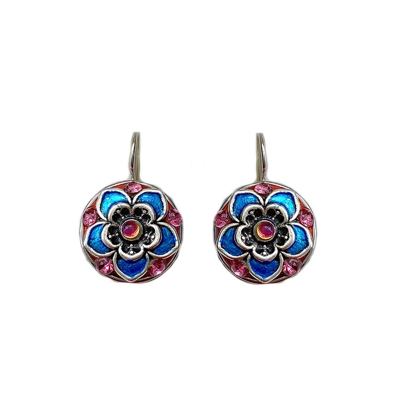 Iridescent Magenta and Blue Circle Earrings