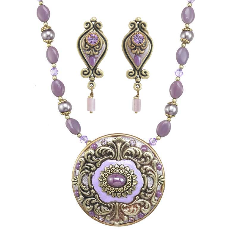 Lilac Necklace and Earrings Set