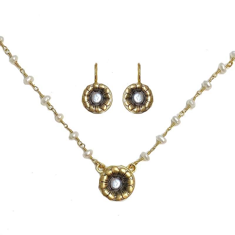 Tiny Gold and Pearl Flower Necklace and Earrings Set