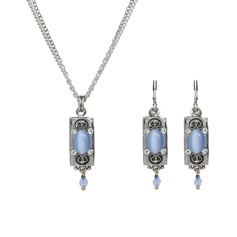 Baby Blue and Silver Bar Necklace and Earrings Set