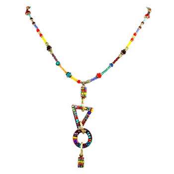 Multi Bright Geometric Beaded Necklace