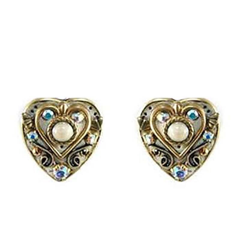 Riverstone Heart Clip Earrings