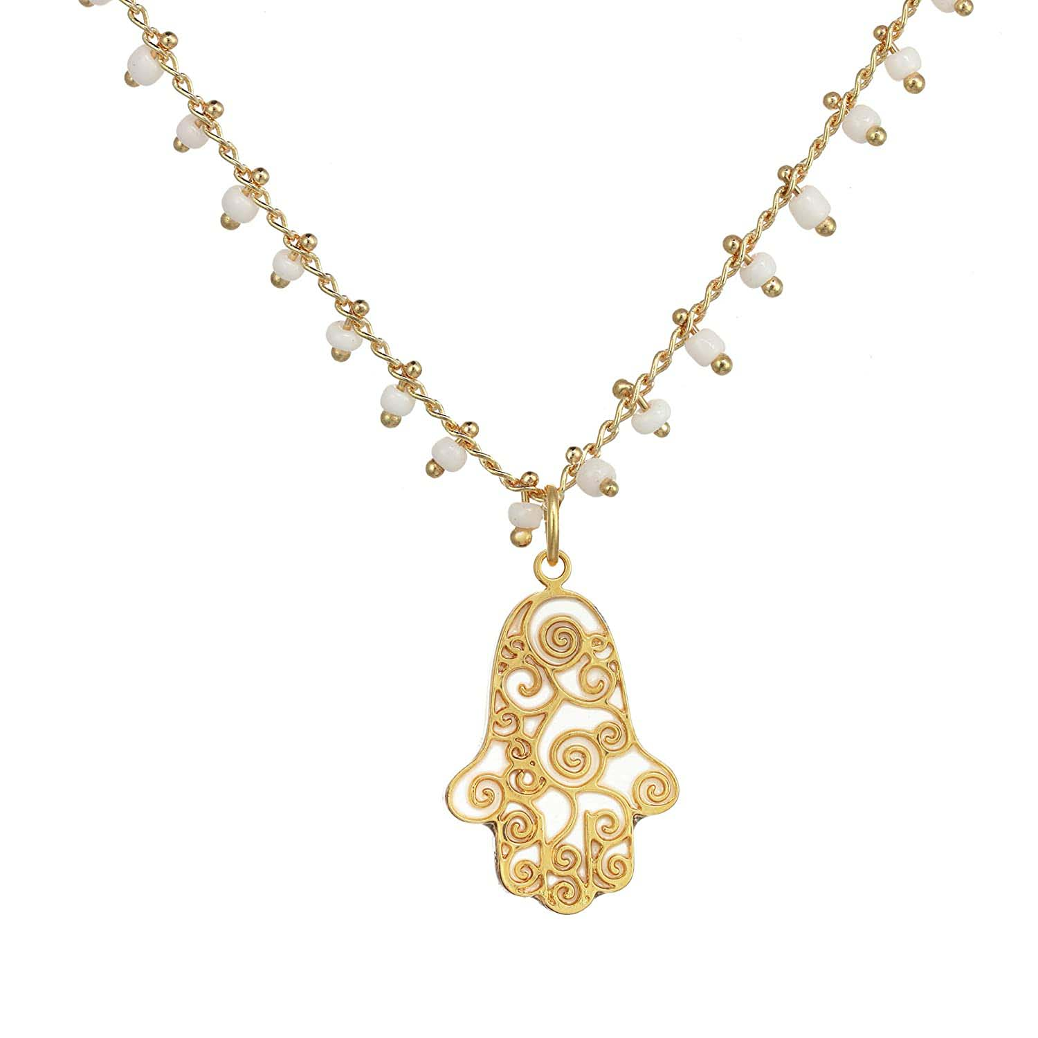 White and Gold Swirl Hamsa Necklace