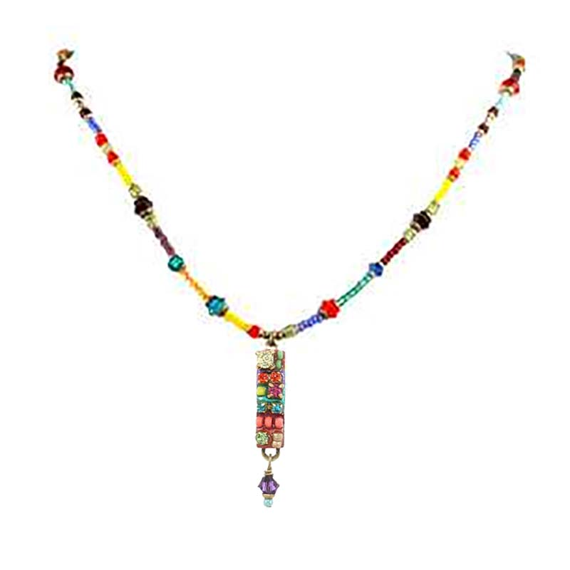Multi Bright Bar Beaded Necklace
