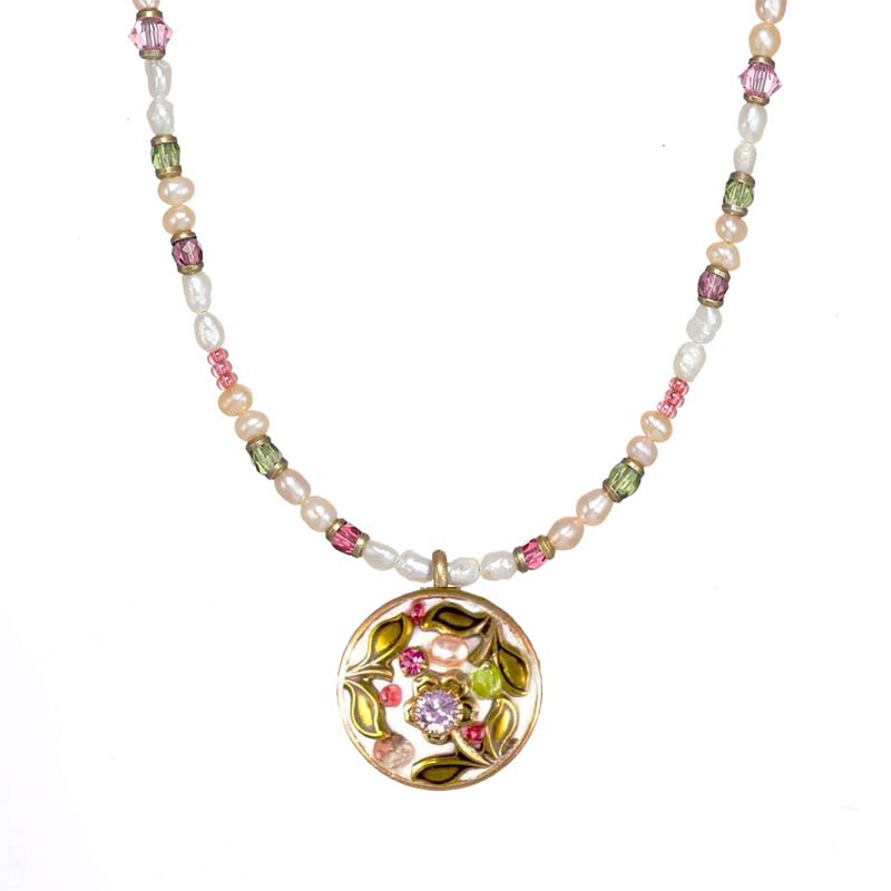 Pearl Blossom Beaded Circle Necklace