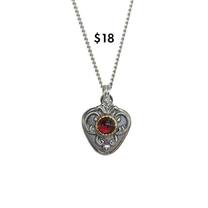 Garnet and Silver Shield Necklace