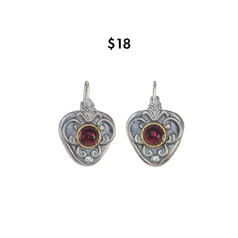 Garnet and Silver Shield Earrings