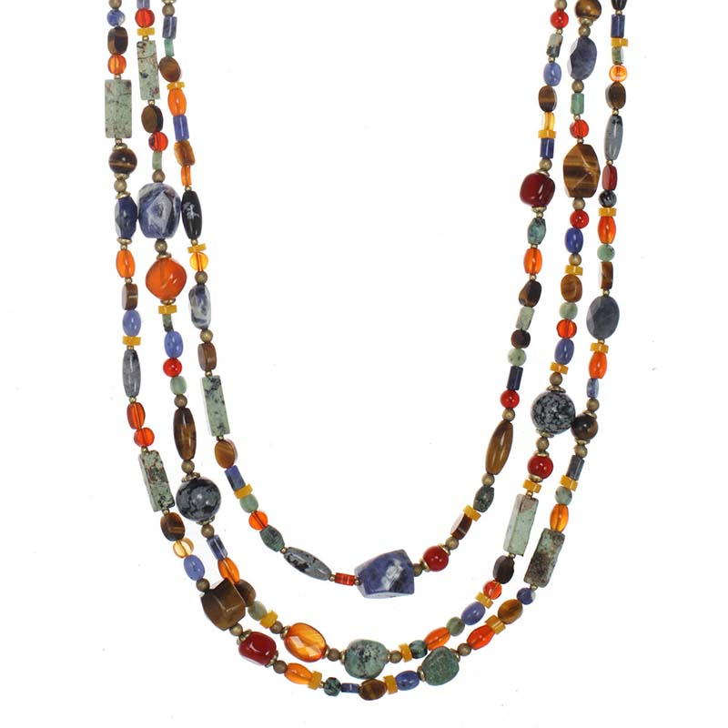 Durango Long Layered Beaded Necklace