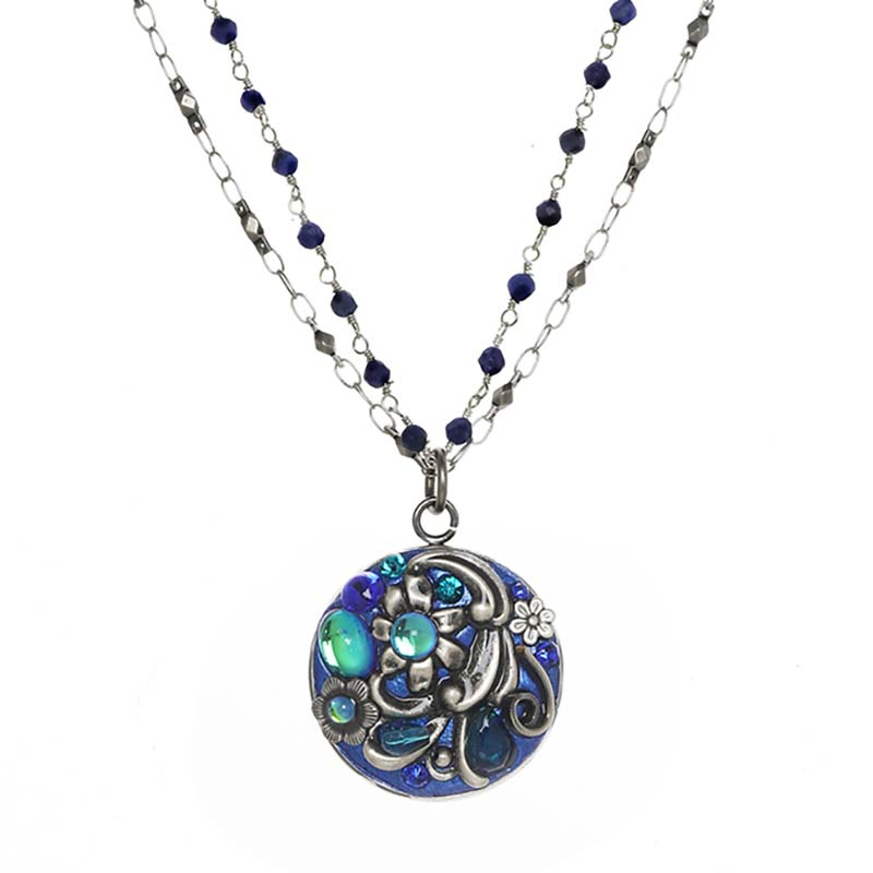 Cerulean Circle Double Chain Necklace