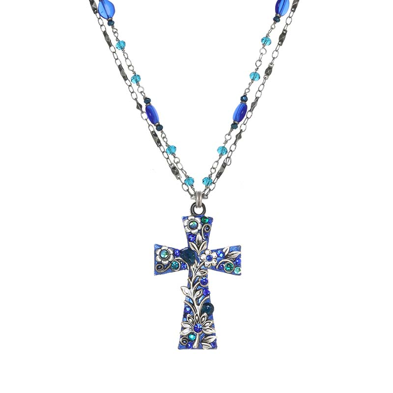 Cerulean Cross Necklace