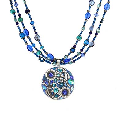 Cerulean Circle Triple Beaded Necklace