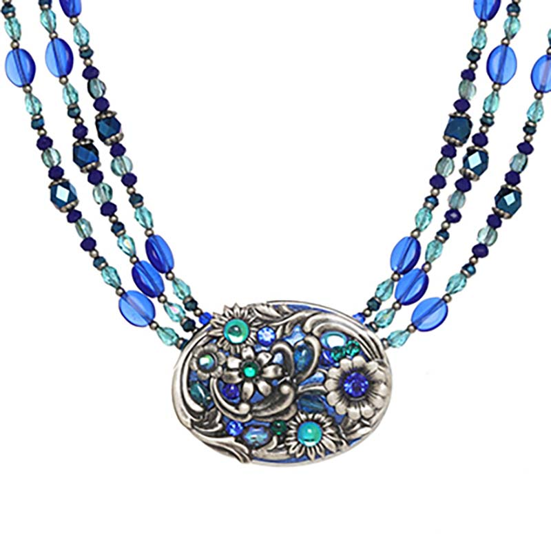 Cerulean Long Oval Triple Beaded Necklace