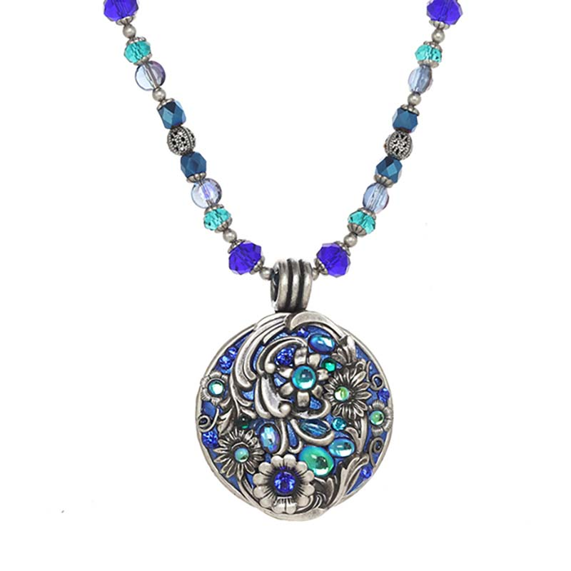 Cerulean Circle Beaded Necklace