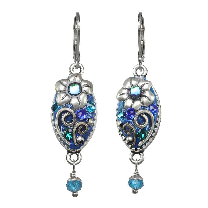 Cerulean Leaf Lever Earrings
