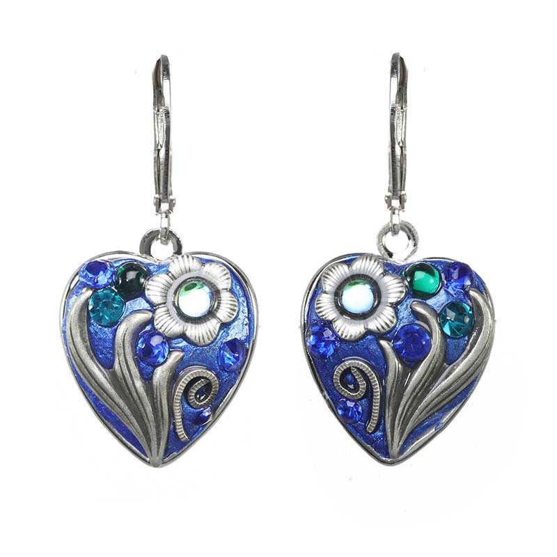 Cerulean Heart Earrings
