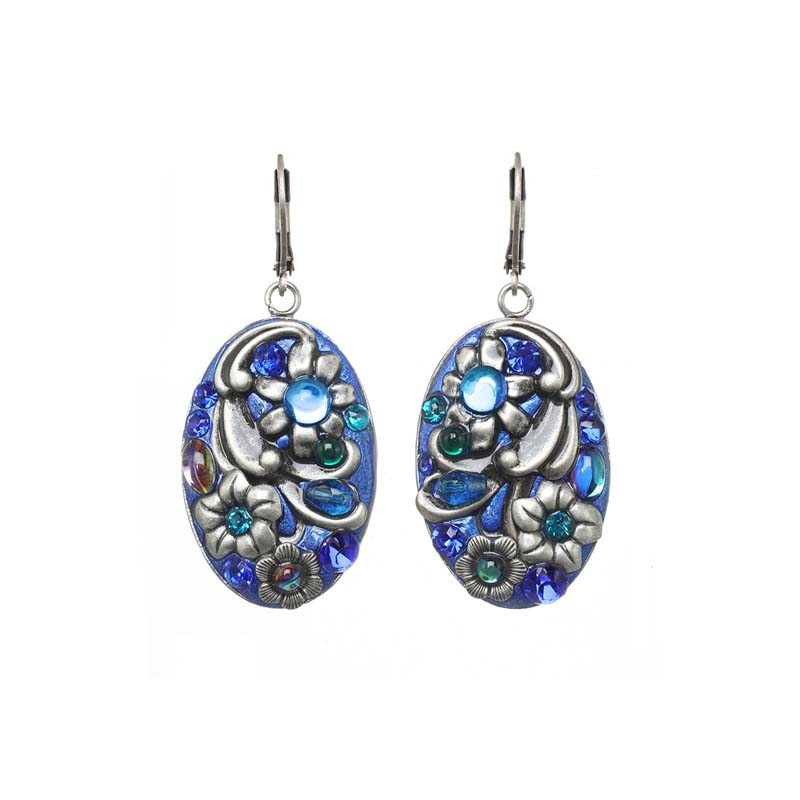 Cerulean Oval Dangling Earrings