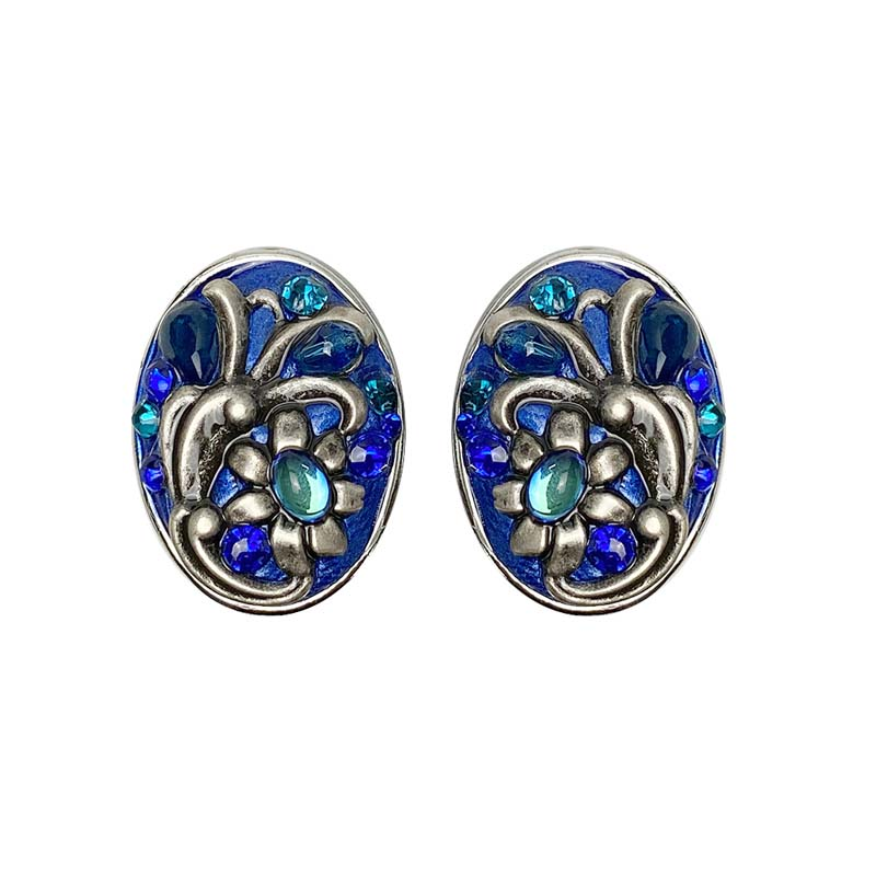 Cerulean Oval Post or Clip Earrings