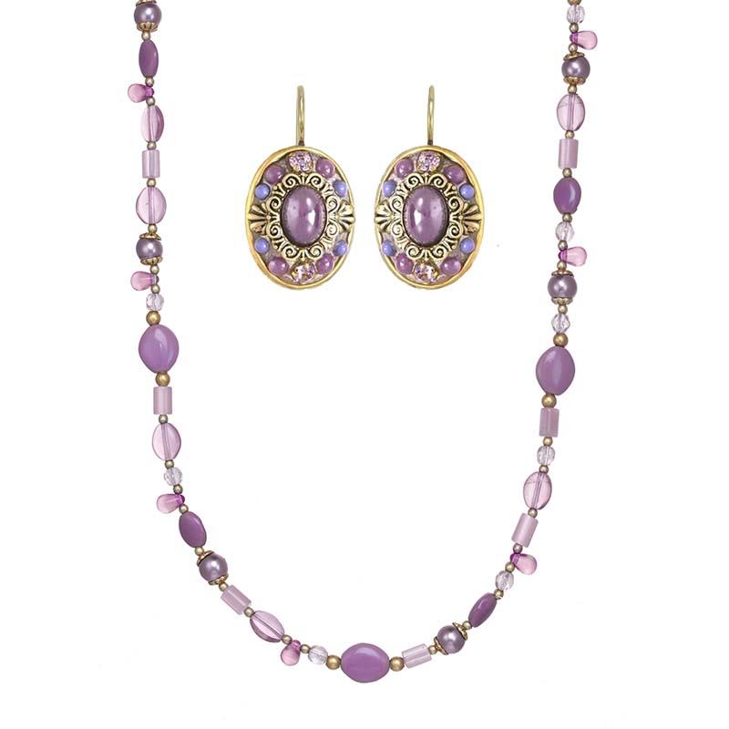 Lilac Beaded Necklace and Earrings Set