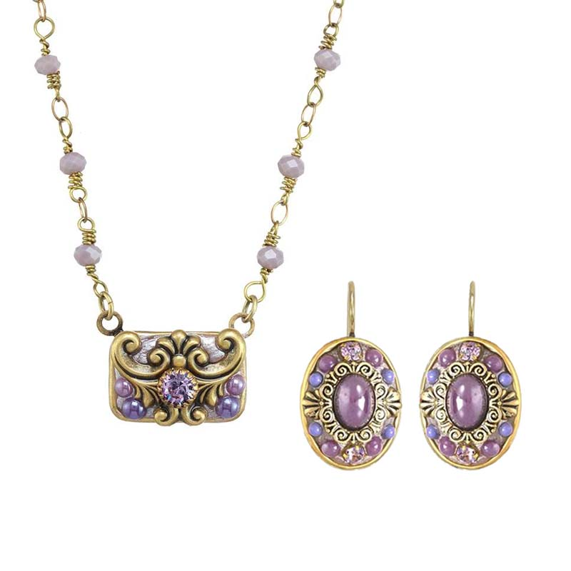 Lilac Rectangle and Oval Necklace and Earrings Set