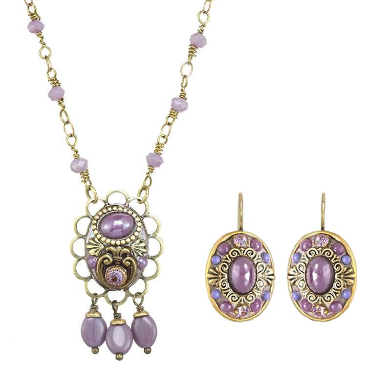 Lilac Oval Dangling Necklace and Earrings Set