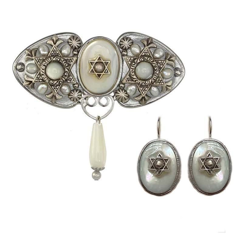 Mother of Pearl Star of David Brooch and Earrings Set