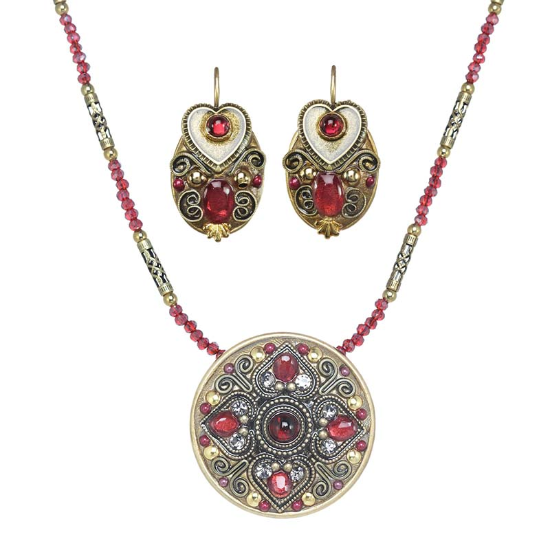 Garnet and Gold Medallion Set
