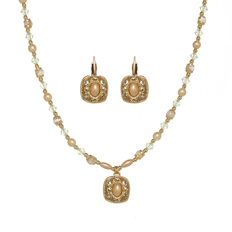 Tiny Gold Square Necklace and Earrings Set