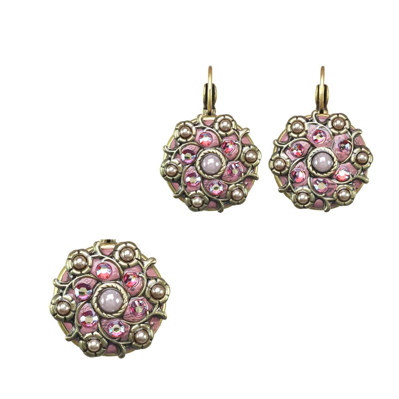 Pink Blossom Pin/Pendant and Earrings Set