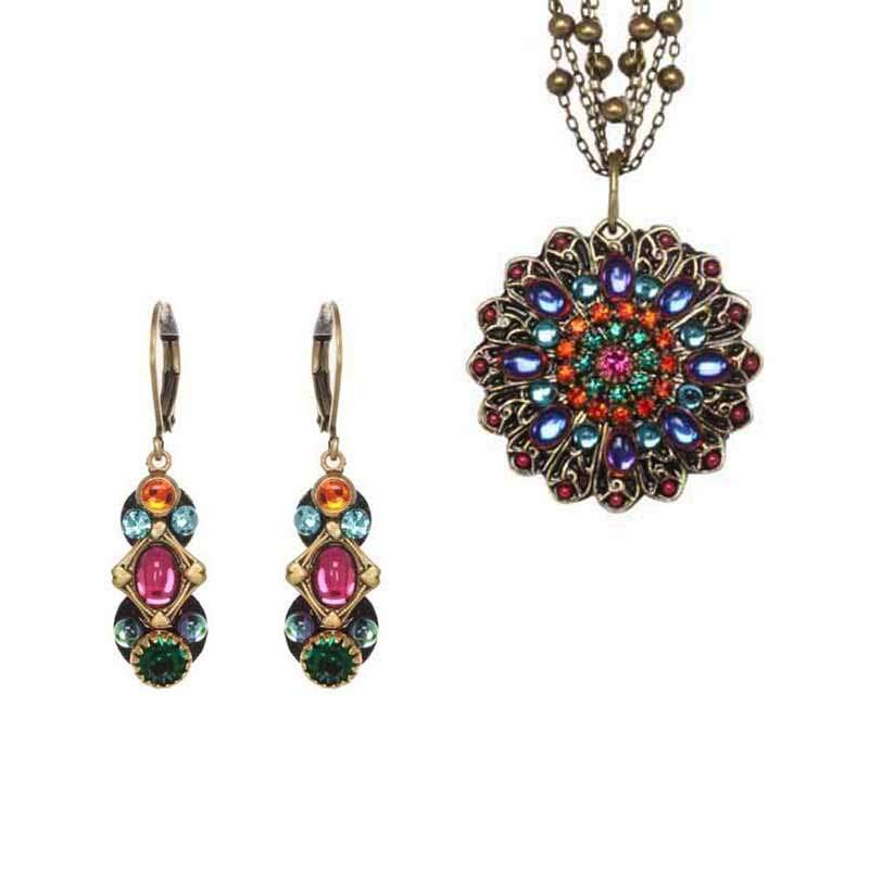 Prismatic Crystal Necklace and Earrings Set