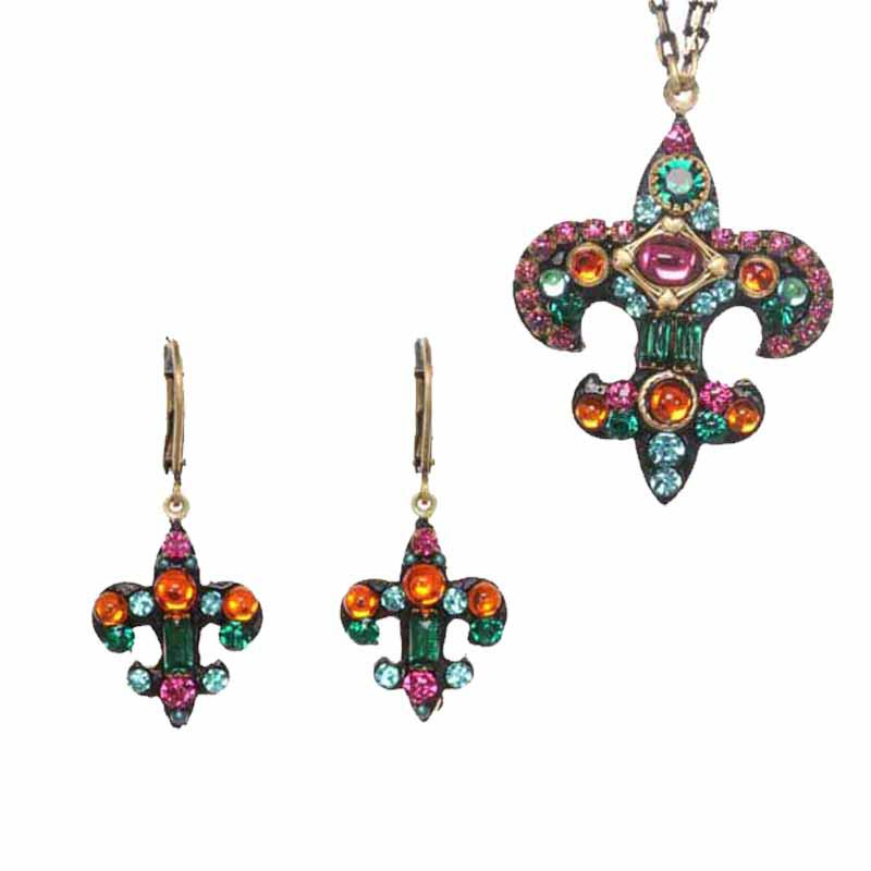 Prismatic Fleur de Lis Necklace and Earrings Set