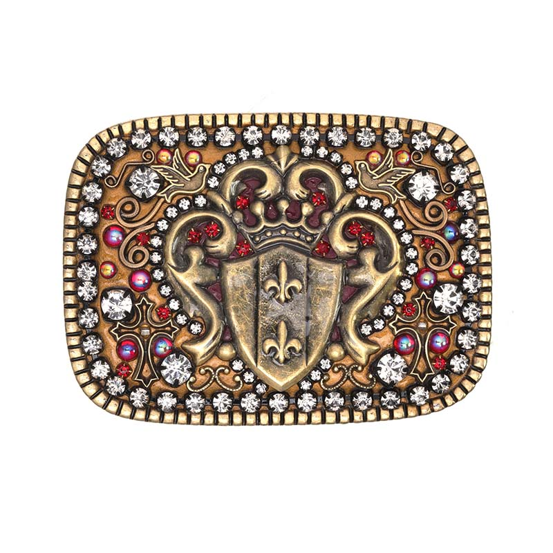 Garnet and Gold Shield Belt Buckle