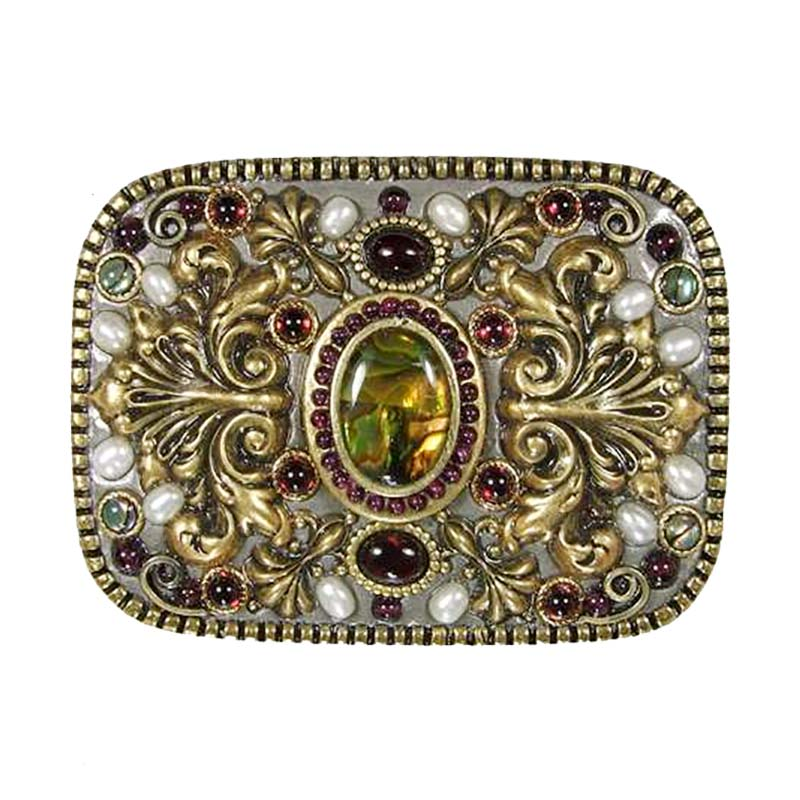 Garnet and Abalone Belt Buckle
