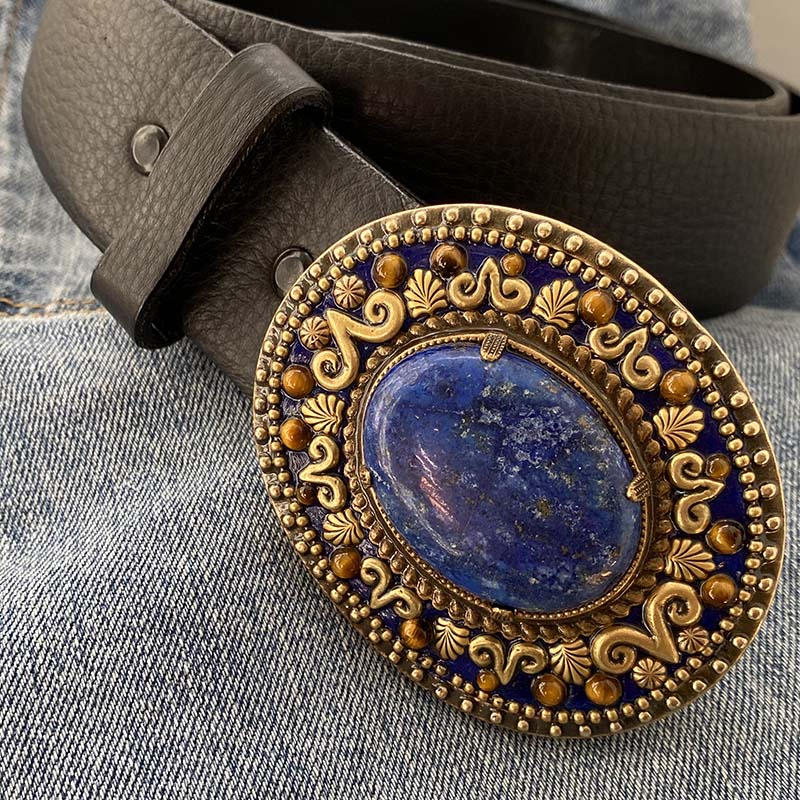 Lapis and Tiger's Eye Belt Buckle