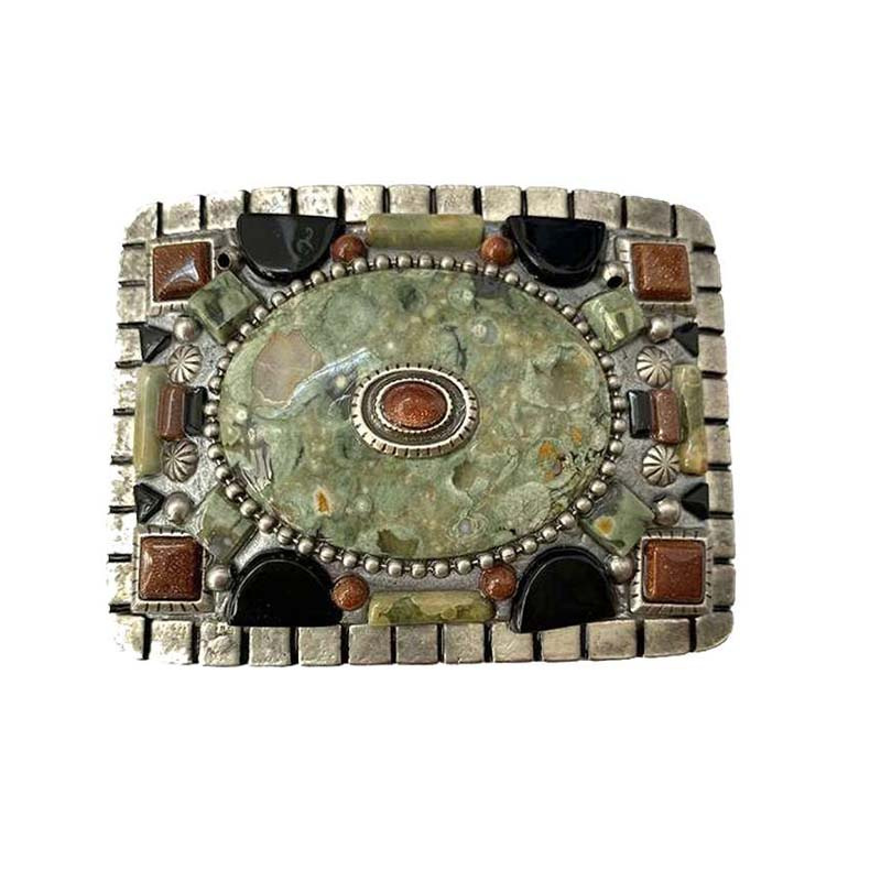 Rhyolite and Onyx Gemstone Belt Buckle