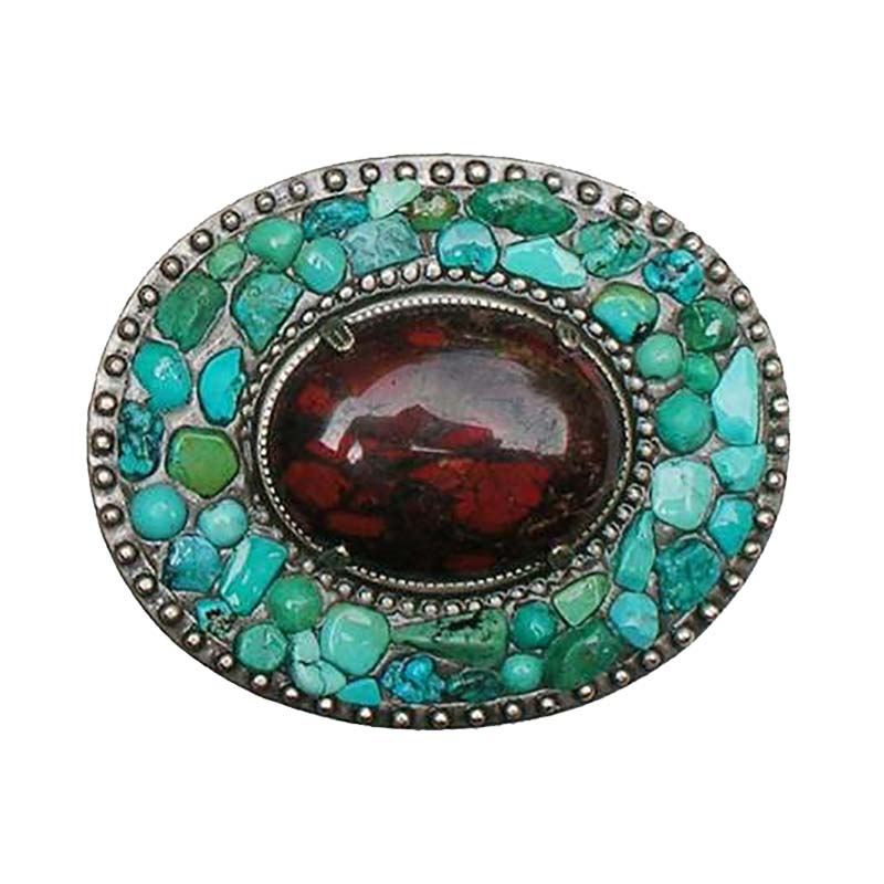 Turquoise and Jasper Oval Belt Buckle