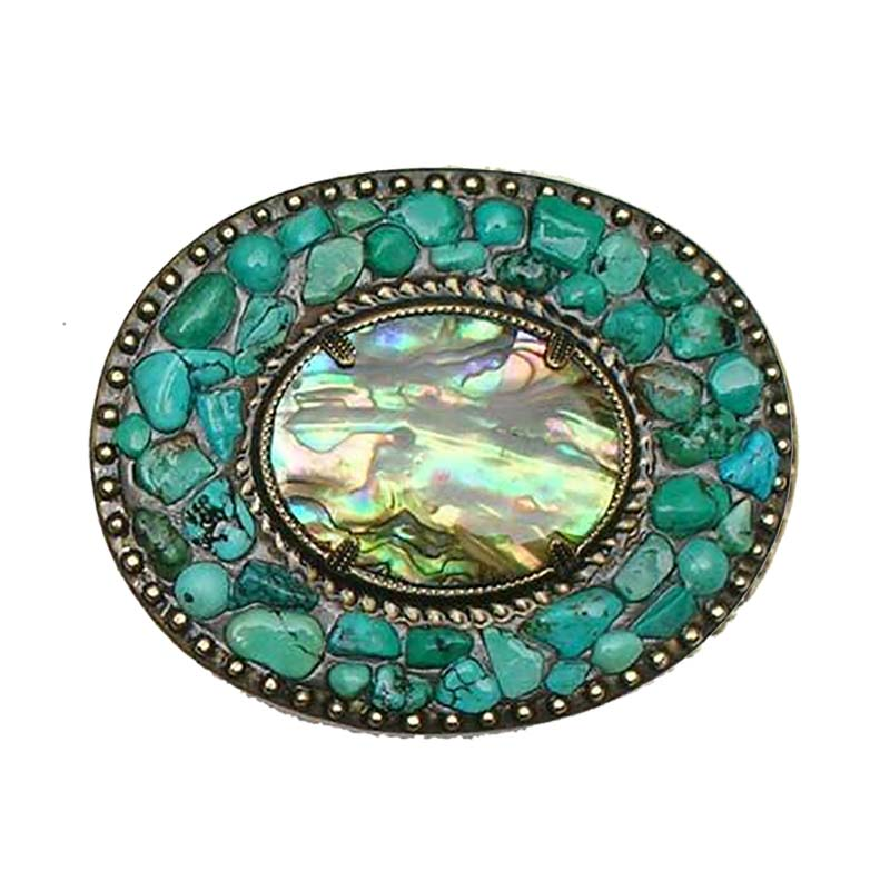 Abalone and Turquoise Belt Buckle